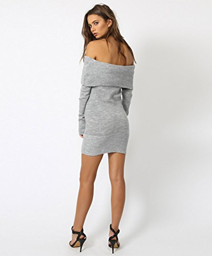 Pull Epaule Sexy Sweater Robe Manches over WanYang Pull Off Gris Jumper Longues over Mince Pull Femme Tricotage Longue fwqXnHOA
