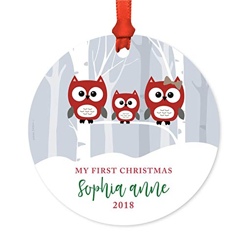 Andaz Press Personalized Baby 1st Christmas Metal Ornament, My First Christmas, Sophia Anne 2019, Red Holiday Woodland Owls, 1-Pack, Includes Ribbon and Gift Bag, Custom Name]()
