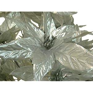 "Silver Christmas Poinsettia Bush 24 Artificial Silk Flowers 24"" Bouquet 024SL 94"
