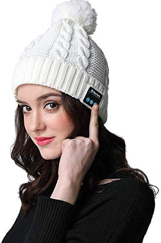 Vizliter Bluetooth Beanie with Headphones Winter Fashion Pom Pom Wireless Hat, Built-in Mic, Rechargeable and Volume Control and HD Stereo Speakers, Warm Cable Knit Cap Cuff Beanie White
