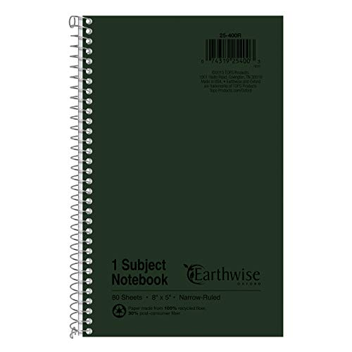 - Ampad Single Wire Notebook, Recycled, Size 8x5, 1 Subject ,Green Cover, Narrow Ruled, Not 3 Hole Punched, 80 Sheets per Notebook (25-400R)