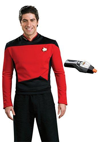 Rubie's Men's Star Trek TNG Deluxe Command Uniform Costume & Phaser, Red, (Star Trek Tng Uniform)