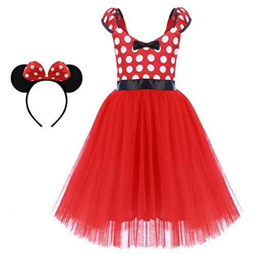Girls Christmas Polka Dots Bowknot Princess Tutu Dress Birthday Party Cosplay Pageant Fancy Costume Mouse Ears Headband Outfits Red Polka Dot Long Dress & Headband 5-6 Years -