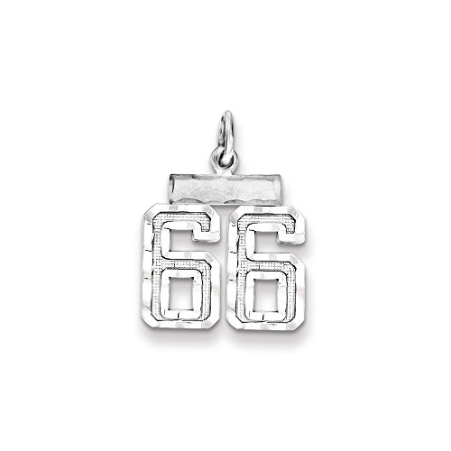 (Diamond2Deal Sterling Silver Small Number 66 Charm)