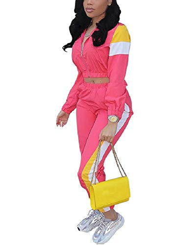 Color Block Tracksuit Sets for Women Casual Colorful Zipper 2 Piece Crop Jacket and Bodycon Pant Jogger Sportwear Pink L