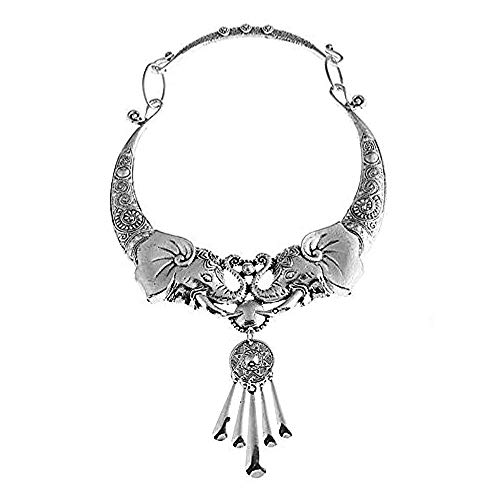 (HANG SHANG Fashion Bib Bohemian Statement Show Off, Flaunt, Display, Sport, Peacock Necklace and Earrings Punk Ethnic Style Jewelry Set for Women (Vintage Elephant: 3))