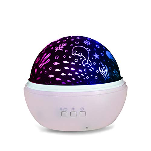 Sea Creatures Night Light - Kids Night Lights Projector 360 Degree Rotation Colorful Starry Sky/Ocean World LED Night Light Projector with 2 Kinds of Projection Films for Children Gifts MACASA (Pink)