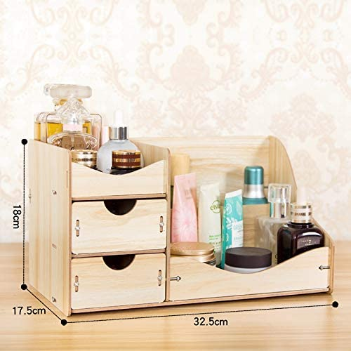 Amayituo Desktop Cosmetics Storage Box Princess Drawer Cute Dressing Table Skincare Jewelry Sorting Rack Wooden Two Drawer Small Oak Amazon Co Uk Kitchen Home