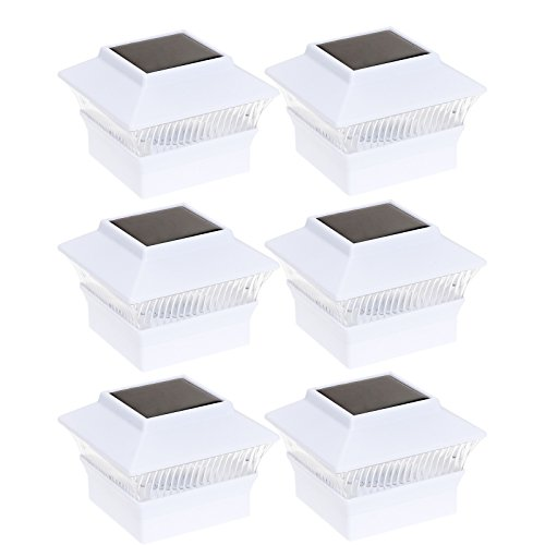 6 Pack Solar Power Square Outdoor Post Cap Lights for 4x4 PVC Posts (White) (Post Deck Solar Lights)