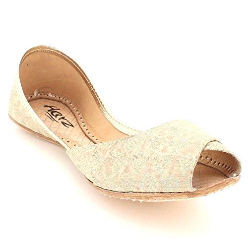 AARZ LONDON Women Ladies Glittery Traditional Ethnic Bridal Handmade Leather Flat Khussa Jutti Mojari Indian Pumps Slip On Shoes Size Champagne
