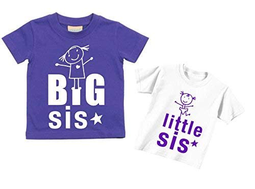 meses os regalo Little Sis Sister Kids tama os Big a Nuevo Disponible Purple shirt Baby Tshirts 0 Pink 15 6 T Set Sisters 14 por en Or Toddler RC5wq4p