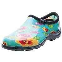 Sloggers 5114TP10 Size 10 Women's Teal Pansy Print Rain & Garden Shoes