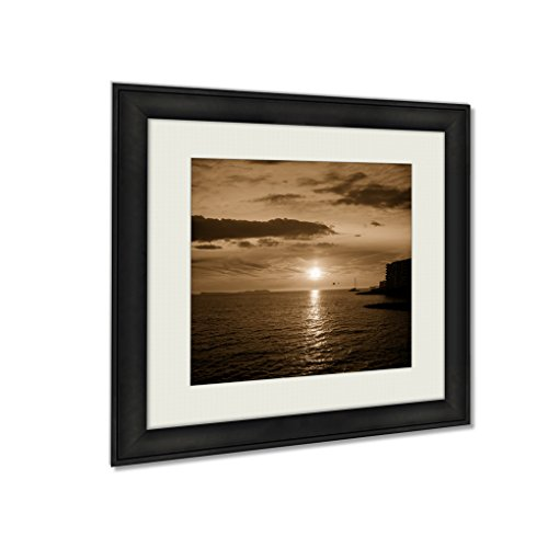 Ashley Framed Prints Ibiza San Antonio Abad De Portmany Sunset In Balearic Islands Of Spain, Wall Art Home Decor, Sepia, 30x30 (frame size), AG6518629 by Ashley Framed Prints
