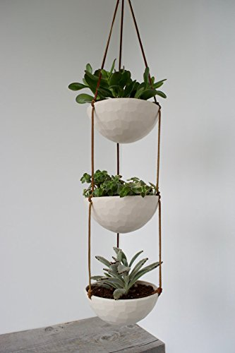 Amazon Com 3 Tier Hanging Succulent Planter Geometric Faceted Or
