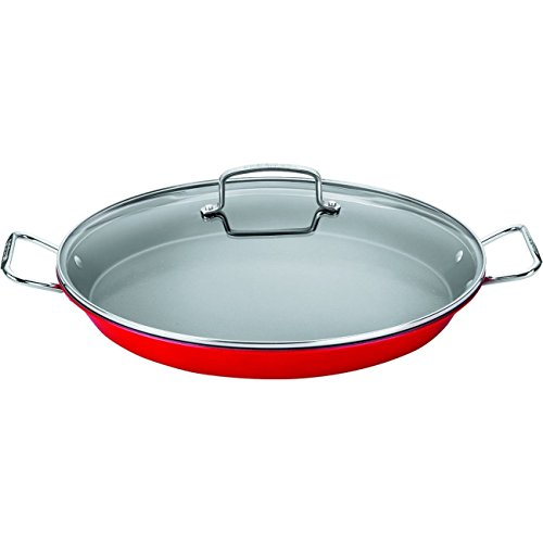 With Paella Pan Lid (Cuisinart ASP-38CR Non-Stick Paella Pan, 15