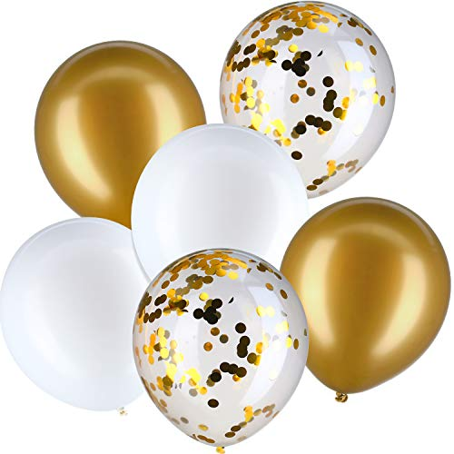 Jovitec 30 Pieces 12 Inches Latex Balloons Confetti Balloons for Wedding Birthday Party Decoration (White and Metallic Gold) -