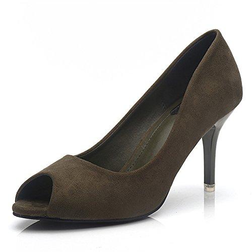 Buganda Comfort Womens Slip On Peep Toe Scarpe Con Tacco Alto Scarpe Scamosciate Classiche Pompe Verdi