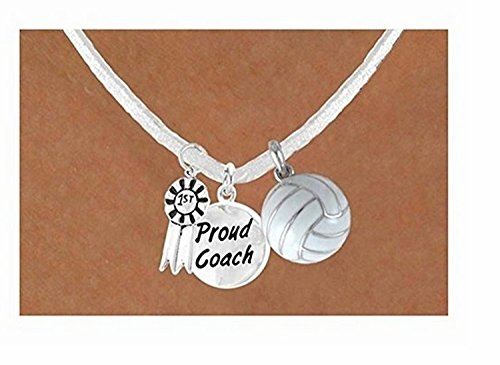 ''1st'' Ribbon & ''Proud Coach'' White Volleyball Necklace by Lonestar Jewelry