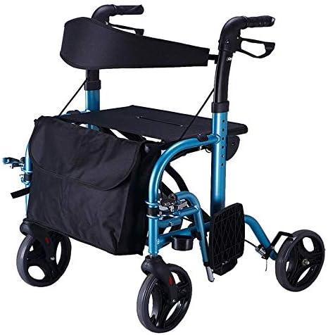 Luckya 歩行器 介護 高齢者 歩行補助器 手動車いす多機能ウォーカーノンスリップウォーキングスティックで病院を折りたたみRollators高齢ウォーカー高さ調節可能なブルーショッピングカート 移動 歩行支援