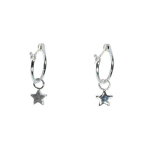 b0e969d19 Amazon.com: Pura Vida Silver Star Hoop Earrings - .925 Sterling ...