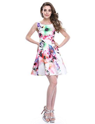 Alisapan Einfach Modisch Ärmellos Blumenprint Kurz Casual Sommerkleider 6UK  Weiß