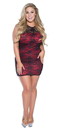 Delicate Illusions Plus Size Lace Dress With Lycra Lining 12X (36-38) Black/Red