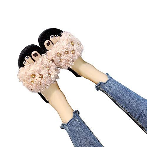 Home Fashion Toe Farjing Warm Bottom HOT Cross Pink Flat Shoes SALE Open For Comfortable Shoe Slippers Shoe Fur Women wqpCxSPR