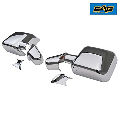Arm Cover included EAG 07-18 Jeep Wrangler JK Mirror Cover Triple Chrome Plated ABS Full