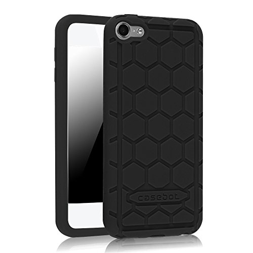 Fintie iPod Touch 6th Generation Case - [Shock Proof] Anti Slip [Honey Comb Series] Silicone Protective Case Cover [Kids Friendly] for Apple iPod Touch 6 / iPod Touch 5, Black (Silicone Ipod 5 Case)