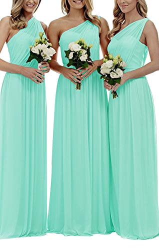 Staypretty Bridesmaid Dresses for Women Long One Shoulder Asymmetric Chiffon Prom Evening Gown Teal -