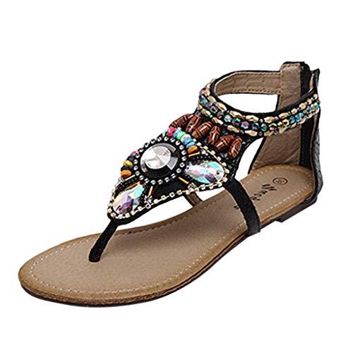 Women Flats Zipper Sandals, CSSD Ladies Summer Flat Sandals Bohemian Beads Coin Back Zip Thong Dressy Sandals Size 5-7.5 (7.5, Black)