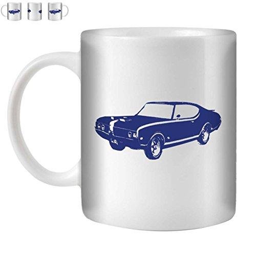 STUFF4 Tea/Coffee Mug/Cup 350ml/Blue/Hurst Olds 442 Muscle/White (Oldsmobile 442 Hurst Set)