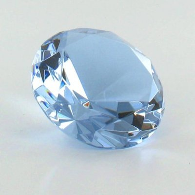Crystal Glass Diamond Shaped Paperweight Amber (Light Blue)