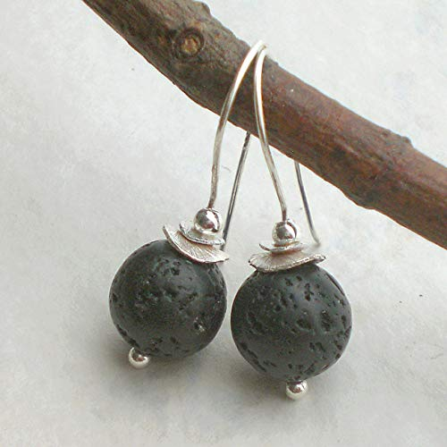 17 mm braune Lava Ohrringe Ohrhänger Earrings mit 925 Silber Ohrhaken
