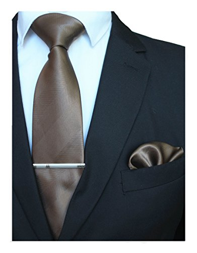 - JEMYGINS Mens Brown Silk Necktie and Pocket Square, Hankerchief and Tie Bar Clip Sets (6)