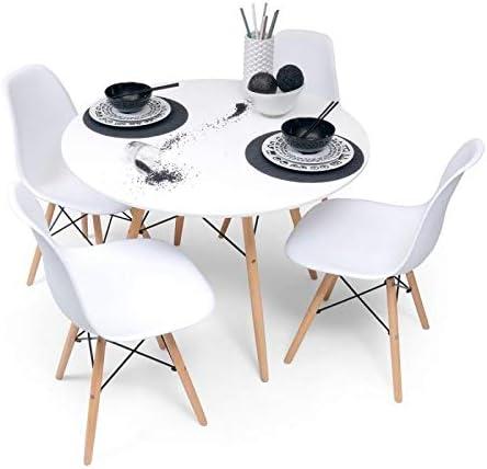 Home Heavenly - Conjunto Comedor Tower, Pack Mesa Redonda + 4 sillas Estilo nórdico Color Blanco: Amazon.es: Hogar