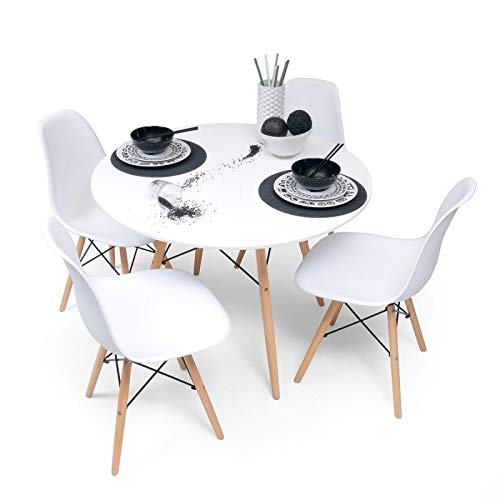 Home Heavenly - Conjunto Comedor Tower, Pack Mesa Redonda + 4 sillas Estilo nordico Color Blanco