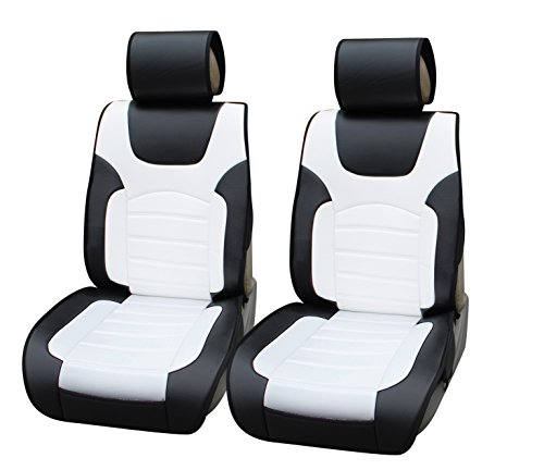 180206 Black/white-2 Front Car Seat Cover Cushions Leather Like Vinyl, Compatible to Toyota Prius V 2017-2007
