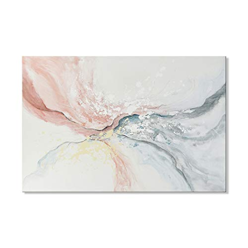 7CANVAS Hand-Painted Modern Abstract Oil Painting Wall Decor Water Flow Shape Contemporary Pink Gray Wall Art for Living Room Bedroom Wrapped Easy to Hang 36x24 Inch