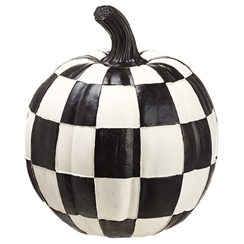 7.75''Hx6.5''W Artificial Pumpkin -Black/White (pack of 4) by SilksAreForever