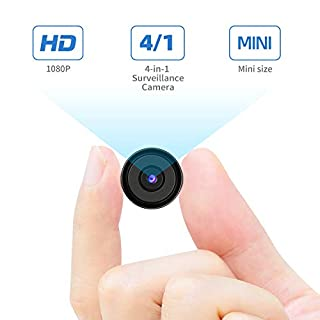 Dericam 1080p Mini Hidden Camera Mini Spy Camera Security Camera, HDCVI/HDTVI/AHD/960H(CVBS) 4-in-1 Surveillance Camera, Small Nanny Cam for Home and Office Security