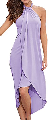 Et Femme Hawa?enne Couleur Unie Fendues Irregulier Midi Robes de Cocktail Party Soire Pin Up Dos Nu sans Manches Moulante Robe Violet