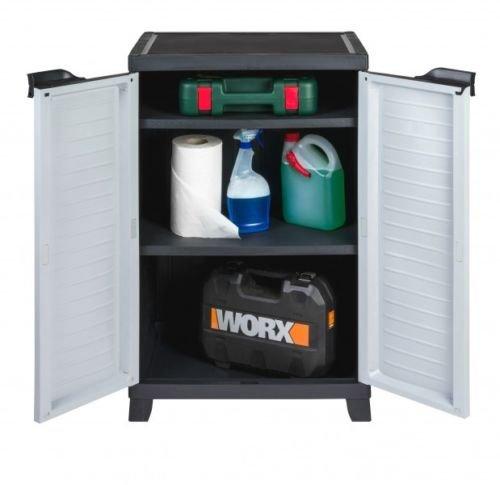 Hochwertiger Kunststoffschrank der ELITE Serie mit 2 verstellbaren Einlegeböden und je 20kg Tragkraft - mittlere Version