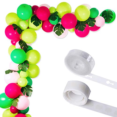Tropical Hawaii Party Decorations Balloons, 75 Pack Balloon Garland Kit- Latex Balloons with Palm Leaves and Balloon Strip Set for Baby Shower Wedding Birthday Flamingo Luau Fruit Party -