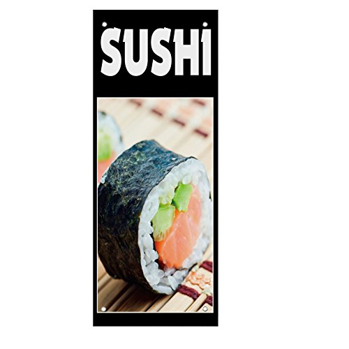 Sushi Food And Drink Double Sided Vertical Pole Banner Sign 18 in x 26 in