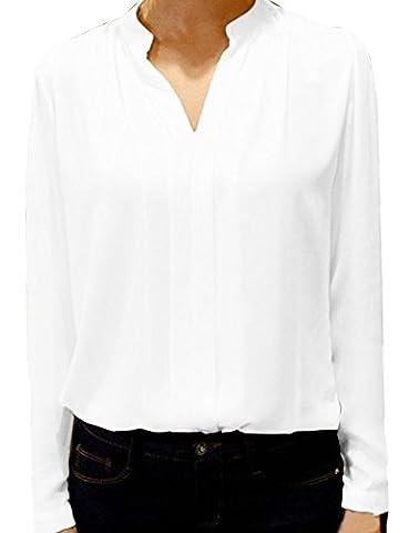 Farktop Women's Summer Long Sleeve Casual Loose Chiffon T Shirt Blouse Tops - Best White Blouse