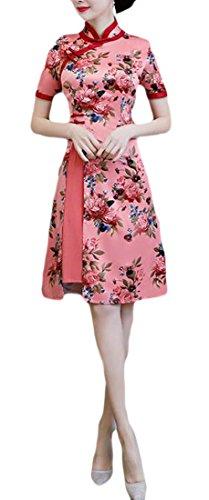 Joe Wenko Women Stand Collar Chinese Traditional Cheongsam Print Slim Fit Qipao Dress Red L ()