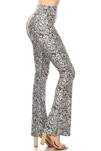 Leggings Depot PZA-S698-S Snake Skin Palazzo Print Pants, Small