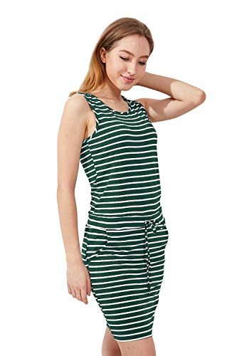 - Women's Summer Casual Sleeveless Knee Length Stripe Dress with Pockets (M(US 4-6), Pine Green&White)