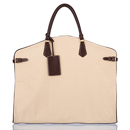 Premium Stylish Garment Bag for Travel Crafted with Beige Canvas